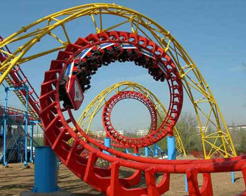 new model roller coaster with four rings