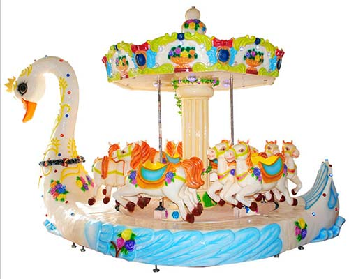 popular small horse carousel ride with swan design
